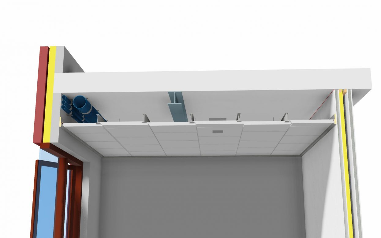 Faay Wanden en Plafonds - 2resist 60 ceiling system - BIM 3D tekening vooraanzicht