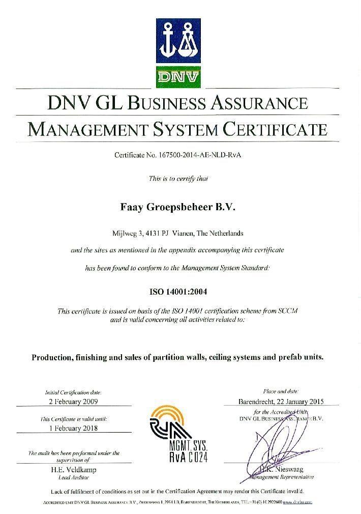 Faay Wanden en Plafonds - Certificaat DNV - ISO14001