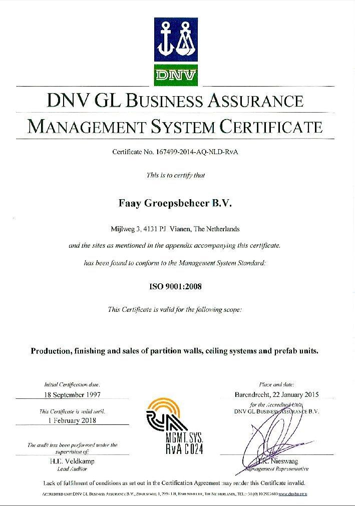 Faay Wanden en Plafonds - Certificaat DNV - ISO9001
