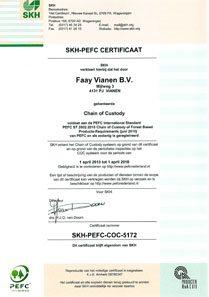 Faay Wanden en Plafonds - Certificaat SKH PEFC COC