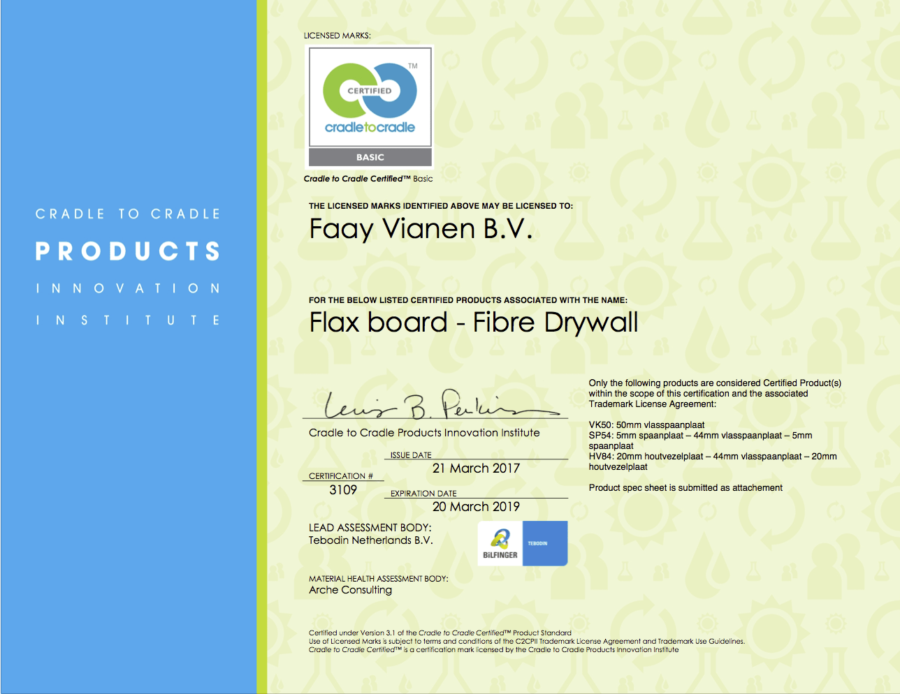 Faay Wanden en Plafonds - Flax board - Fibre Drywall - Certificaat C2C