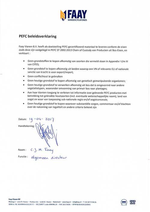 Faay Wanden en Plafonds - PEFC beleidsverklaring