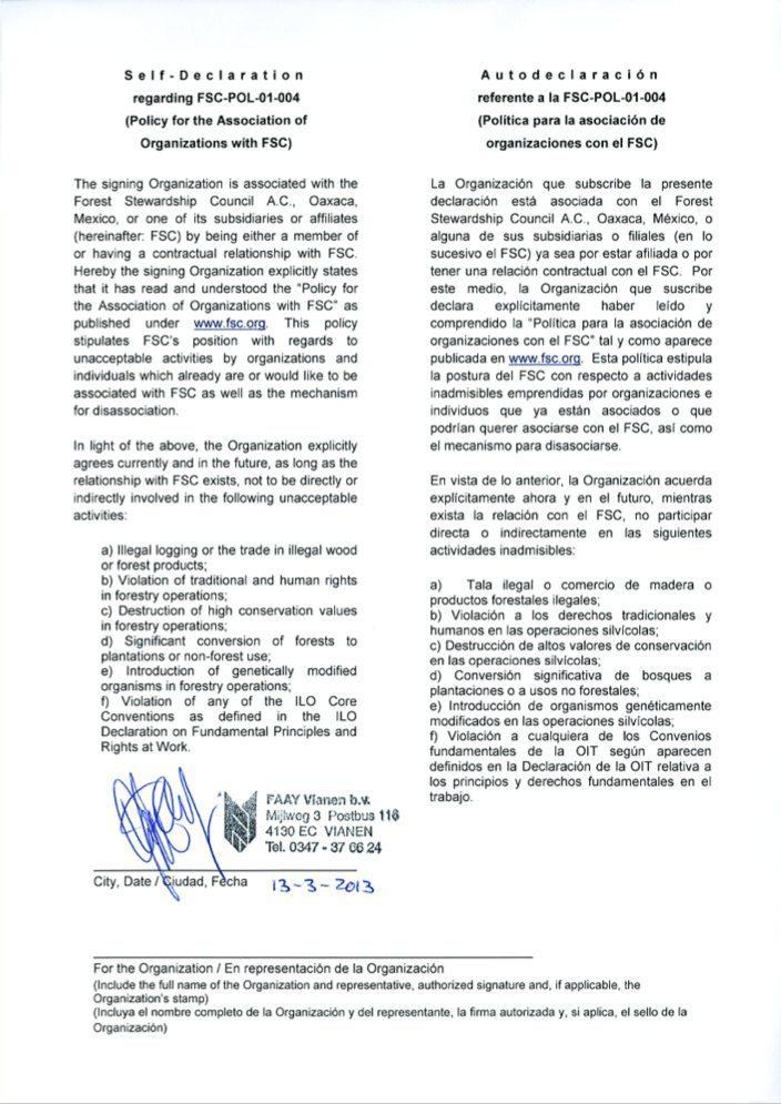 Faay Wanden en Plafonds - Self declaration FSC