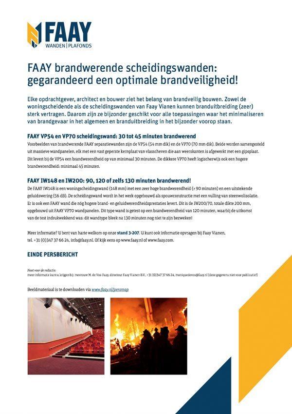 Faay Wanden en Plafonds - Persbericht - Brandwerendheid