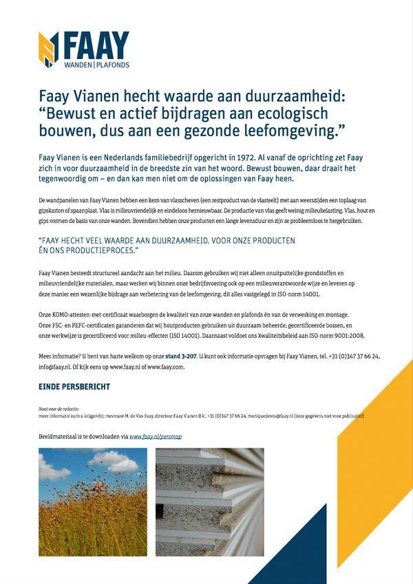 Faay Wanden en Plafonds - Persbericht - Duurzaamheid