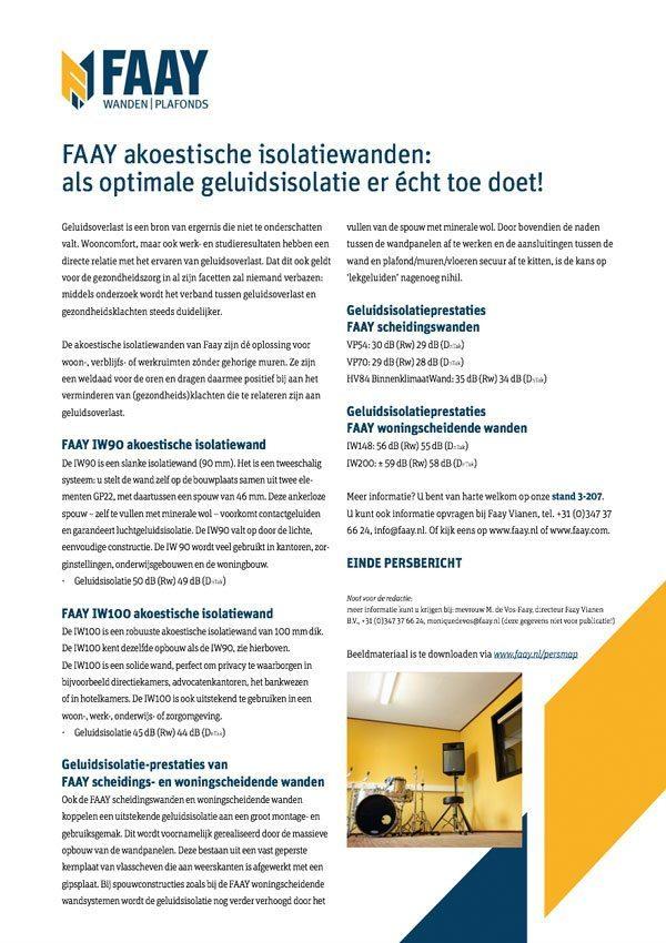 Faay Wanden en Plafonds - Persbericht - Geluidswerendheid