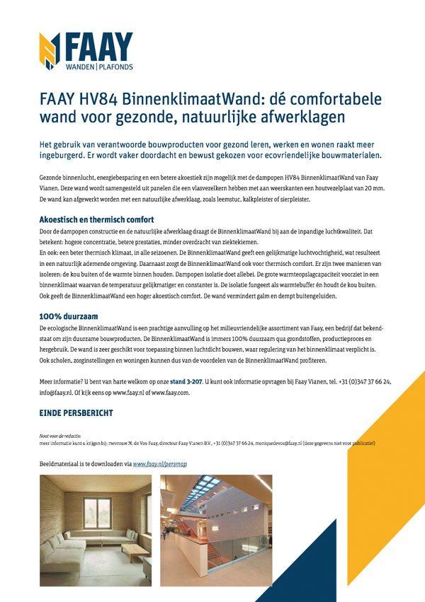 Faay Wanden en Plafonds - Persbericht - HV84