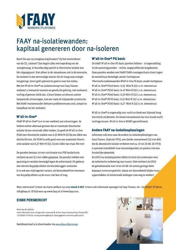 Faay Wanden en Plafonds - Persbericht - Na isolatie