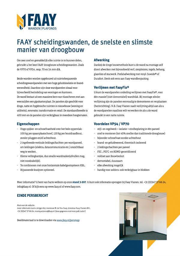 Faay Wanden en Plafonds - Persbericht - Scheidingswanden
