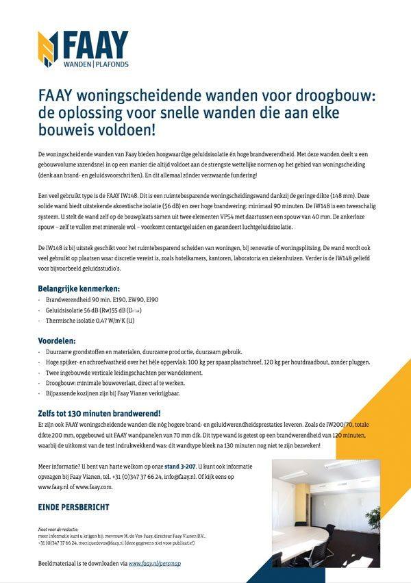 Faay Wanden en Plafonds - Persbericht - Woningscheidend